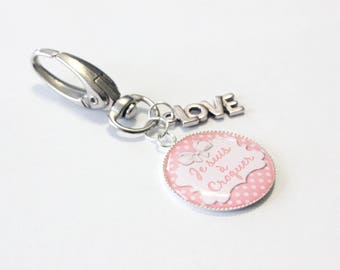 "Grigri keychain ""I eat"" and LOVE charm"