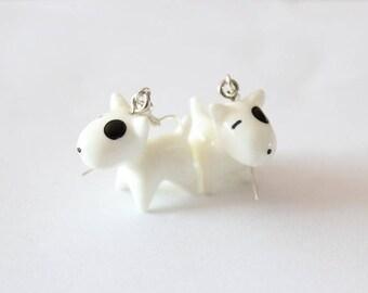 White dog resin earrings