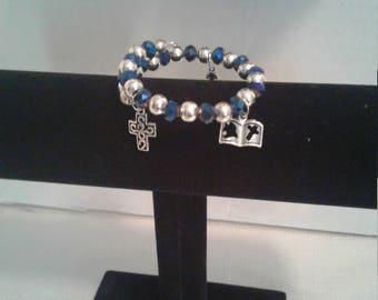 Blue and silver  rap charm bracelet