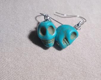 Blue skull earrings