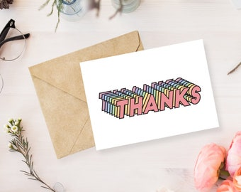 Greeting Card Printable, Thank You Card, Thank You Note, Thanks Card, Printable Stationary, Modern Card, Colorful Greeting Card
