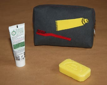 My first kit toiletry bag, lined with tent ;-)