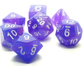 Dungeons and Dragons Dice Set - Purple Glitter - dnd gift ideas d&d dice d20 RPG roleplaying Role Playing Games polyhedral by Dice Envy