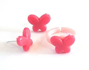 Dress children girl: stud earrings and ring ° ° pink butterfly