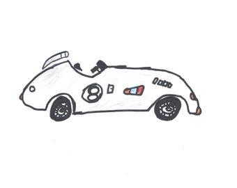 Gray Vintage Race Car Art Print 8.5x11