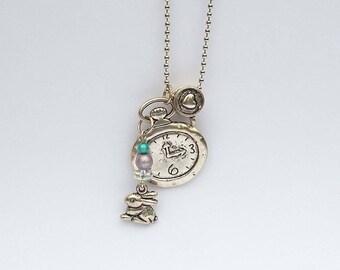 Rabbit charm necklace, clock beads