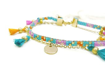 Bracelet Bohemian chic pink, orange and turquoise effect tutti frutti and golden chain
