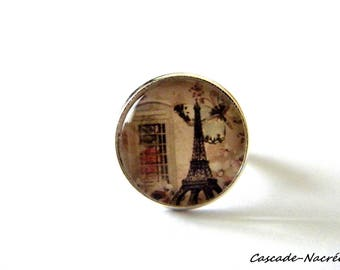 PARIS green rose cabochon ring silver photo glass Dome bead