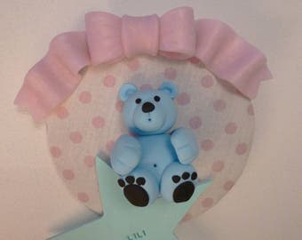 Door plate personalized with a blue Teddy bear