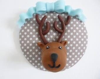 Polymer clay deer head trophy