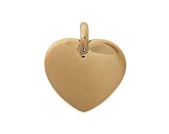 Engraved heart pendant customize plated gold 20 mm