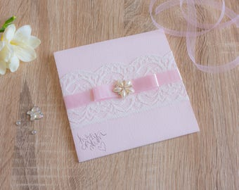Handmade Pocketfold Wedding Invitation PinkPearlFlower