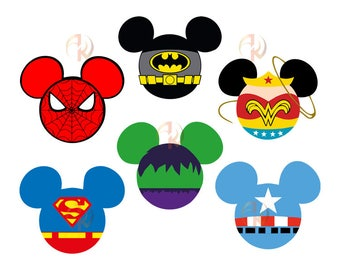 Superhero SVG, Mickey Mouse SVG, Minnie Mouse SVG, Superhero Mickey Minnie Mouse, Mickey Svg, Minnie Svg, Mickey Minnie Mouse Silhouette