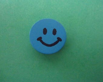 "Pearl blue pattern ""Smiley"", 1.5 cm"