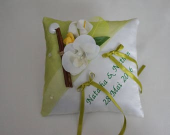 lime green rustic wedding ring bearer pillow