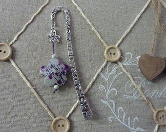 Bookmark silver - 12.5 cm for the stem - Perle resin purple