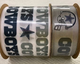FREE SHIPPING- 2 Piece Ribbon Set - Dallas Cowboys - NFL Licensed Offray Ribbon