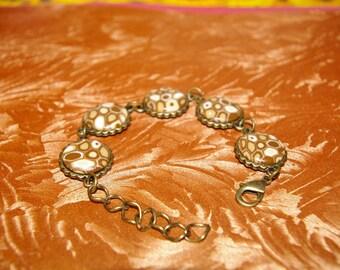 Caramel colored polymer clay bracelet