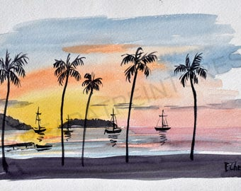 original watercolor sunset - the three islets Martinique - 24 x 32