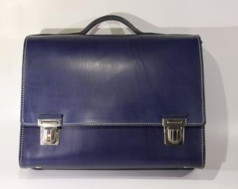 A4 slim blue leather bag