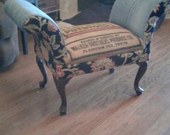 Upholstered with vintage feed sack and denim. Shabby chic ottoman