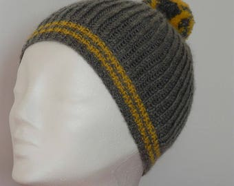 Winter Hat VINTAGE two-tone yellow and grey tassel and coast of England