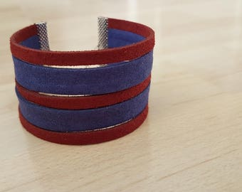 5 row - Burgundy & Navy Blue - Suede Cuff Bracelet