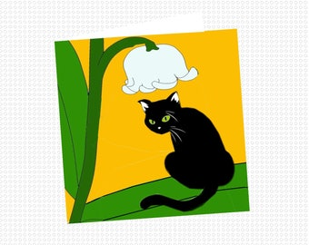 Cat, cat, my Lily of the Valley greeting card