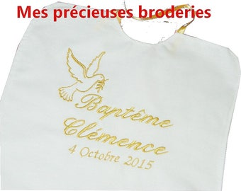 Embroidered christening bib personalized name + date model choice