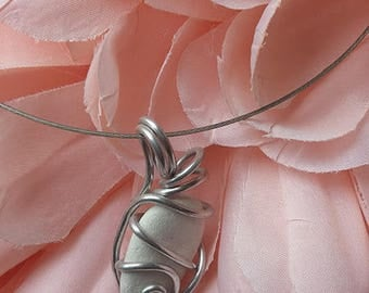 """""""Stone"""" cable necklace with twisted Silver Aluminum"""