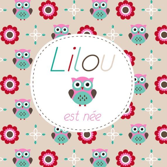 Célèbre Faire-part naissance chouette fille hibou fleurs OO64