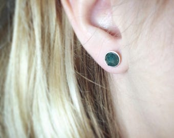 Genuine emeralds Stud Silver 925 earrings