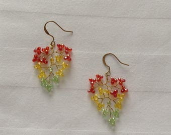 "Earrings orange red, yellow and green Swarovski Crystal, model ""autumn leaves"""