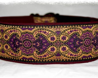 Dog collar Jacquard ribbon with unique colourful ornaments, Elegant design