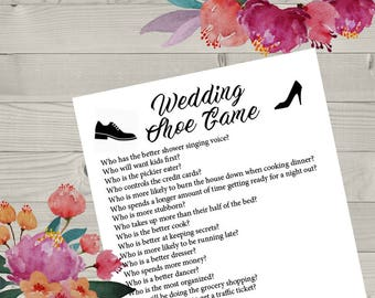 Wedding Shoe Printable Game Questions Reception Fun