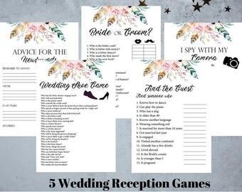 5 Wedding Reception Games, Printable Wedding Reception Game, Fun Wedding Game, Creative Wedding Activities, Boho Floral Theme