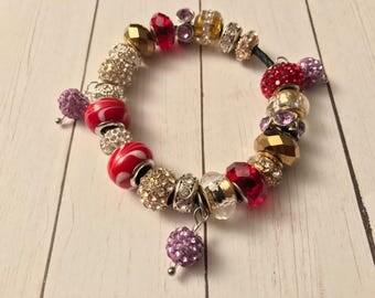 Firey red  charm bracelet