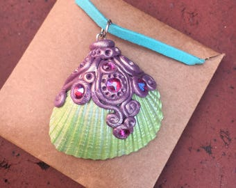 Lilac and green mermaid pendant