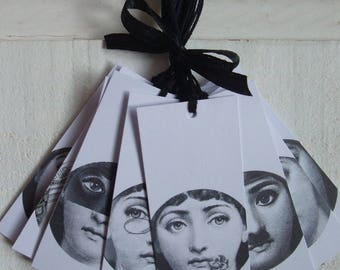 Set of 14 Tags elongated Fornasetti tags