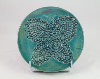 Flat lace Butterfly enameled green copper Raku firing below