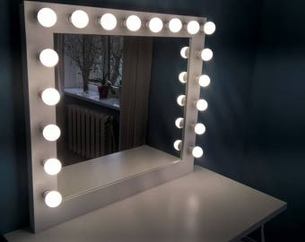 large vanity mirror with lights. Large Hollywood vanity mirror makeup with lights Wall hanging free  standing Mirror Etsy