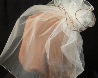 Fine Tulle Birdcage Wedding Veil with detachable fascinator, Beige, Mocha, Beads