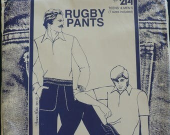 Men's and Boy's Pants Pattern, Rugby Pants Pattern - Vintage Sewing Pattern 214 - by Sharon Marie Studios - Size 32-44