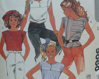 Girls Top Sewing Pattern, Brooke Shields Collection - Vintage McCalls Pattern 9060 - Size 14