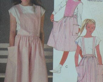 Girls Skirt, Straps and Bib Sewing Pattern, Dirndl style - Vintage McCalls Pattern 9122 - Size 14