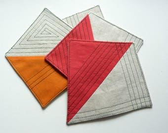 Set of four cotton geometry coasters