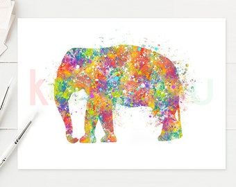 Elephant  Watercolor Art - Baby Elephant Watercolor Print - Elephant Watercolor Poster - House Warming Gift - A26