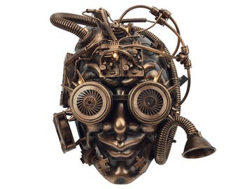 Steampunk Industrial Jester Mask Copper Bronze Gold Masquerade Halloween Party Mask