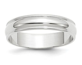 New Solid 14k White Gold Milgrain 6mm Wedding Band Sizes from 4 - 14. Solid Stamped 14k White Gold, Made in the U.S.A.
