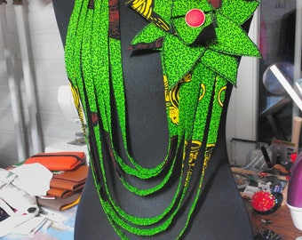 African fabric WAX Flower necklace
